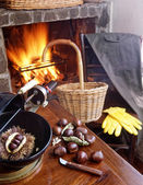 Autumn evening at the fireside roasting chestnuts — Stock Photo