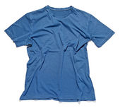 Rumpled and crinkled blue cotton t-shirt — Stock Photo