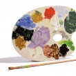Artists palette with colorful paints — 图库照片