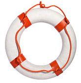 Life preserver with red rope — Stock Photo