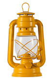 Yellow metal hurricane lamp — Stok fotoğraf