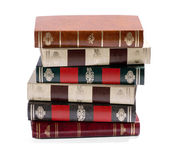 Stack of old books with gilt tooled spines — Stock Photo
