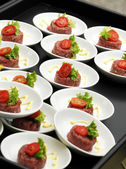 Individual servings of beef tartare — Stock Photo