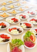 Individual cold salads and appetizers — Stock Photo