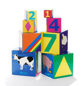 Colorful educational childrens building blocks — Stock Photo