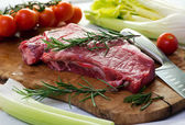 Portion of uncooked lean healthy beef steak — Stock Photo