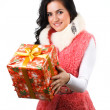 Beautiful girl with a gift - Stock Photo