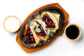 Pancakes with sour cream and with berries and cherry jam — Stock Photo