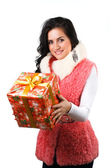 Beautiful girl with a gift — Stock Photo