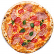 Stock Photo: Round pizza with ham, tomatoes and greens