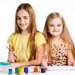 Girls painting together - Stock Photo
