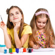 Girls painting together — Stock Photo