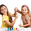 Girls painting together — Foto Stock