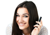 Beautiful girl with mobile phone — Stock Photo