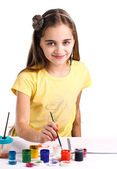 Girl Painting — Stock Photo