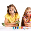 Two girls painted — Stock Photo