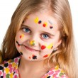 Girl painted paints — Stock Photo