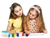 两个女孩绘 — 图库照片