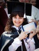 一张文凭的漂亮女孩 — 图库照片