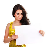 Beautiful brunette with a clean sheet of paper — Stock Photo
