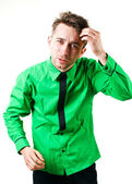 Funny man in green shirt — Stock Photo