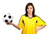 Pretty girl with soccer ball — Stock Photo