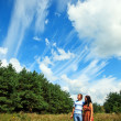 Couple in love walking in nature — Stock Photo