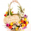 Stock Photo: Basket decorated with flowers