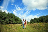 Couple in love walking in nature — Foto Stock