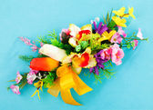 Arrangement of artificial flowers — Stock Photo