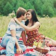 Happy young couple spending time together in park — Stock Photo #35740523