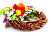 Wreath of twigs and flower composition — Stock Photo