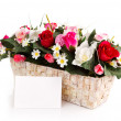 Stock Photo: Decorated flowers basket