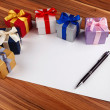 Blank card with gift boxes — Stockfoto