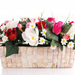 Artificial flowers in basket — Stock Photo #50947297