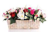 Artificial flowers in basket — Foto de Stock