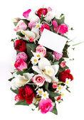 Decorated flowers basket — Stock Photo