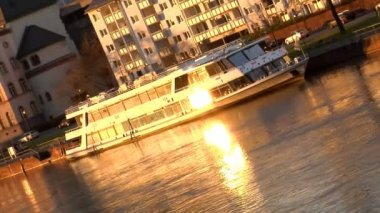 Boat on River evening sun reflection — Stock Video