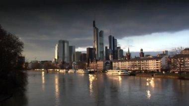 Dark clouds over Frankfurt Germany Skyline — Stock Video