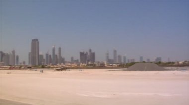 Dubai skyline pan burj emirates — Stock Video