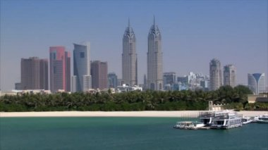 Dubai skyline from palm — Stock Video