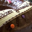 Stock Video: Germbakery dolly around birthday cake close