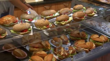 German bakery fresh sanwiches on counter — Stock Video