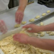 German bakery almond slices on marzipan roll bun 10775 — Stock Video