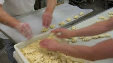 German bakery almond slices on marzipan roll bun 10775 — Stock Video