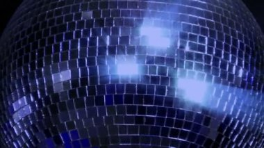 Blue loop disco mirror ball series - center glitter 10394 — Stock Video
