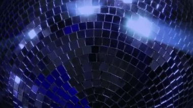 Blue loop disco mirror ball series - super close 10396 — Stock Video
