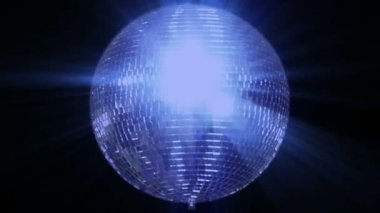 Blue loop disco mirror ball series - center wide 10397 — Stock Video
