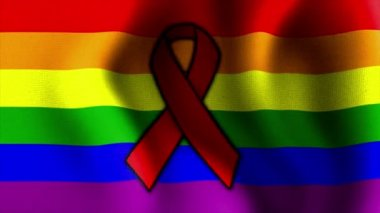 Waving rainbow flag red ribbon 10574 — Stock Video