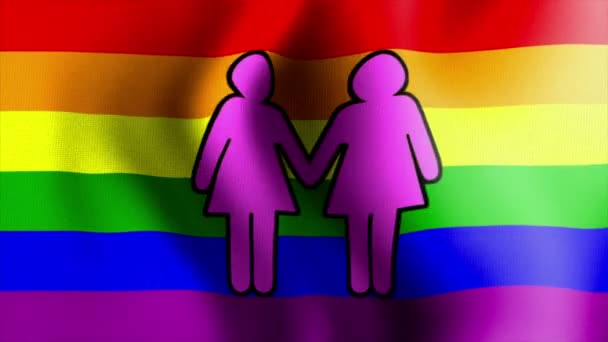 Ondeando la bandera del arco iris signo femenino dos 10572 — Vídeo de stock